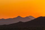USA, Arizona, Saguaro National Park. Tucson Mountains at Sunset