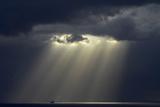 USA, Hawaii, Oahu, Ship and Rays of Sunlight Off Honolulu