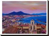 City Of Naples Italy With Mount Vesuvio And Gulf