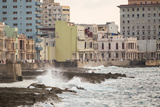 Waves Crash into the Stone Wall of the Malecon in Havana, Cuba