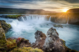 Godafoss, Myvatn, Iceland. the Waterfall of the Gods at Sunset