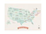 Beige USA Travel Map