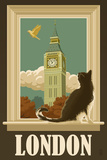 London, England - Big Ben and Cat Window