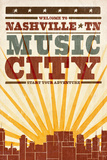 Nashville, Tennessee - Skyline and Sunburst Screenprint Style
