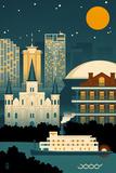 New Orleans, Louisiana - Retro Skyline (no text)