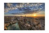Las Vegas, Nevada - Aerial View at Sunset