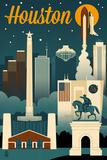 Houston, Texas - Retro Skyline