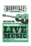 Nashville, Tennessee - Horizontal Guitar - Teal Screenprint