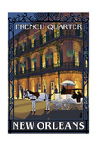 New Orleans, Louisiana - French Quarter at Night - Lantern Press Original Poster