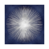 Silver Sunburst on Blue I