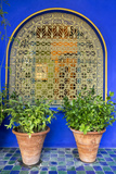Morocco, Marrakech, Blue Building Exterior Surrounded by Plants