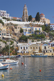 View over Harbour to Colourful Houses and Church, Dodecanese Islands