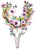 Deer Skull with Flowers - Watercolor