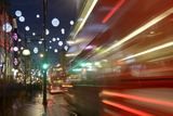 Uk, England, London, Oxford Street, Christmas Decoration, Coach, Light Track