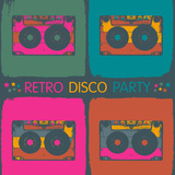Retro Disco Party Invitation in Pop-Art Style. Raster Version, Vector File Available in Portfolio.