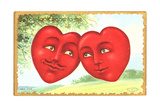 Pair of Hearts with Human Faces in Country Landscape