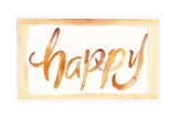 Happy Watercolor Brush Lettering in Orange