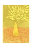 Forsythia in a Vase on Orange Surface