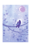 Bird Couple on Branch in Moonlight