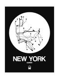 New York White Subway Map