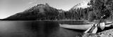 Canoe in Lake in Front of Mountains, Leigh Lake, Rockchuck Peak, Teton Range