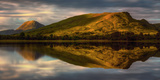 Mountain Reflection in Loch Awe at Sunset, Argyll and Bute, Scottish Highlands, Scotland