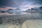 Black Sand and Full Moon as Surreal Scenery at Skagsanden Beach, Flakstad, Nordland County