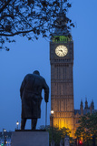 Sir Winston Churchill Statue and Big Ben, Parliament Square, Westminster, London, England