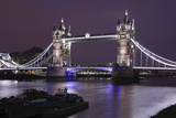 The Famous Tower Bridge in London Seen at Dusk, London, England