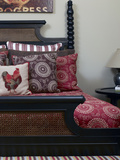 Cushions on Dark Wood Double Bed, Usa