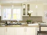 Pendant Lights Above Island Unit in Modern Kitchen, Usa