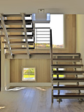 Staircase with Open Treads in Hallway with Wooden Floor, Usa