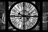 Giant Clock Window - View on the New York City - B&W Hell's Kitchen