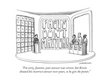 """""I'm sorry, Jeannie, your answer was correct, but Kevin shouted his incorr..."""" - New Yorker Cartoon"