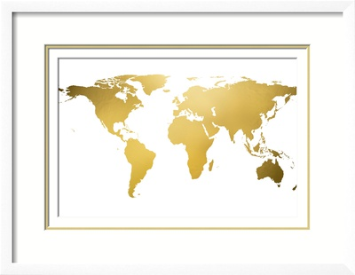Gold world map gold foil poster allposters no frame gumiabroncs Images