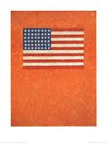 Flag on Orange Field Litograf af Jasper Johns