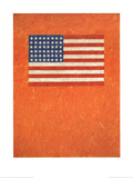 Flag on Orange Field Litografia por Jasper Johns