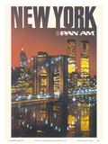 New York - Pan American World Airways - Brooklyn Bridge, Twin Towers Poster di  Pacifica Island Art
