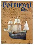Portugal - Portuguese Caravel Ship Poster di  Pacifica Island Art