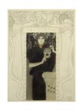 Tragedy. Study for the allegory of Tragedy. Pen and ink, white wash 48 x 31 cm. Giclée-Druck von Gustav Klimt