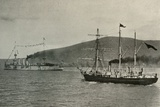 'The Nimrod Passing H.M.S. Powerful,...in Lyttelton Harbour', 1 January 1908, (1909) Photographic Print by  Unknown