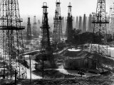 Forest of Wells, Rigs and Derricks Crowd the Signal Hill Oil Fields Fotografisk tryk af Andreas Feininger