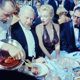 Ambassador Winthrop Aldrich Chats with Marilyn Monroe as Husband Arthur Miller Looks on, Paris Ball Premium-Fotodruck von Peter Stackpole