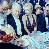 Ambassador Winthrop Aldrich Chats with Marilyn Monroe as Husband Arthur Miller Looks on, Paris Ball プレミアム写真プリント : ピーター・スタックポール