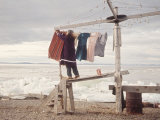 Alaskan Woman Hanging Her Laundry to Dry Along the Edge of an Ice Sheet Impressão fotográfica por Ralph Crane