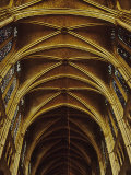 Panoramic View of Interior of Chartres Cathedral Looking up Nave Toward Main Altar Fotografie-Druck von Gjon Mili