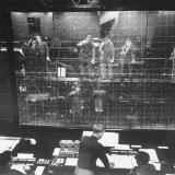 Plotters Writing Data Backward on Plotting Board with Luminous Pencils, Air Defense Control Center Fotografisk tryk af Al Fenn