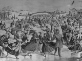 Assembly of Ice Skaters on Lake in Central Park in Winter Fotografisk trykk av Currier & Ives,