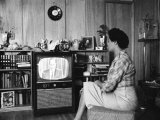 Civil Rights Leader Daisy Bates Watching Televised Desegregation Speech by Governor Faubaus Premium Photographic Print by Thomas D. Mcavoy