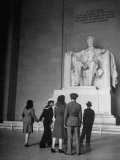 Tourists Visiting Lincoln Memorial Photographic Print by Thomas D. Mcavoy